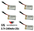 Picture of 5x Walkera 3.7v 240mAh 25c Lipo Battery HM-Mini-CP-Z-17 1